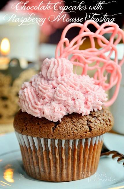 Chocolate-Cupcaks-Raspberry-Mousse-Frosting 1 willcookforsmiles.com