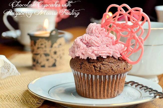 Chocolate-Cupcaks-Raspberry-Mousse-Frosting 2 willcookforsmiles.com