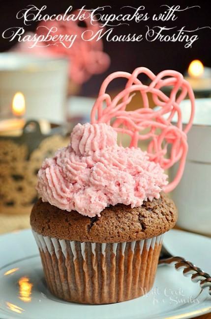Chocolate-Cupcaks-Raspberry-Mousse-Frosting willcookforsmiles.com