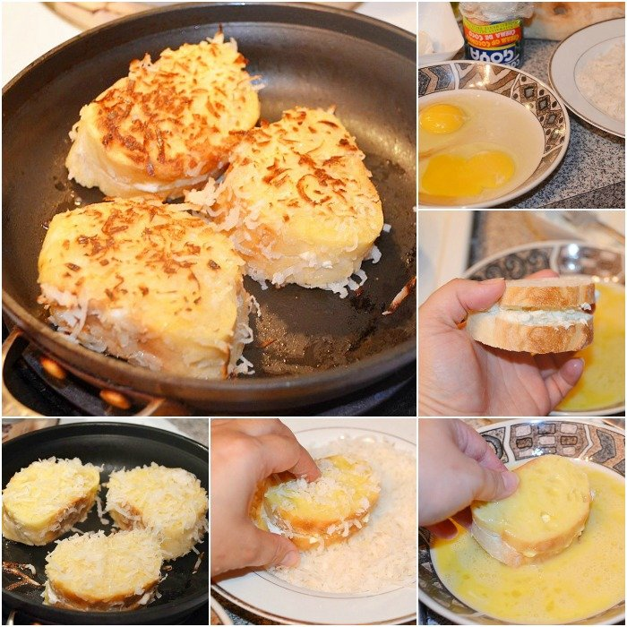 collage of steps to make french toast