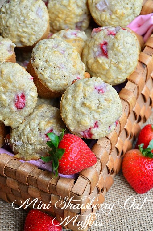 Mini Strawberry Oat Muffins 1 willcookforsmiles.com