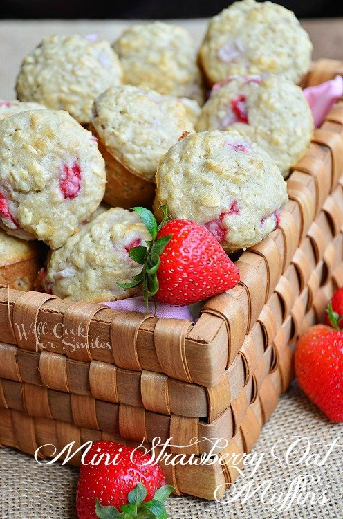 Mini Strawberry Oat Muffins 2 willcookforsmiles.com