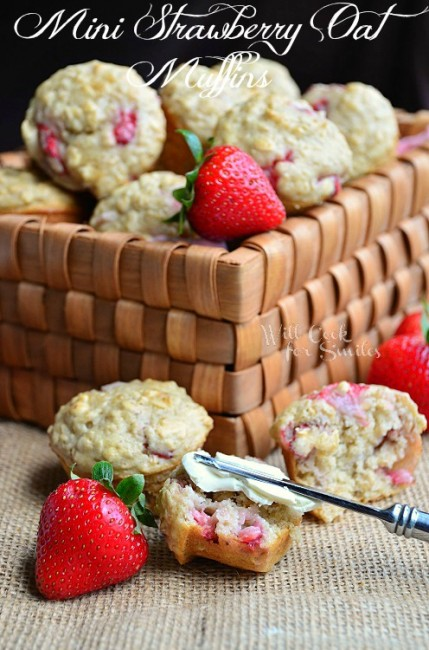 Mini Strawberry Oat Muffins 4 willcookforsmiles.com