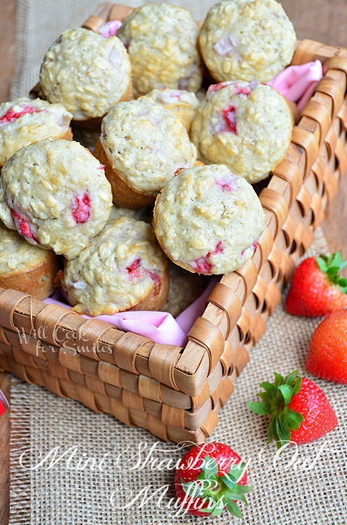 Mini Strawberry Oat Muffins from willcookforsmiles.com