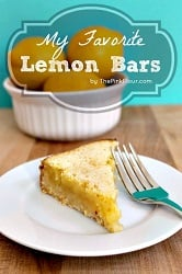 My Favorite Lemon Bars - thick shortbread crust with a delicious lemon curd filling topped with powdered sugar