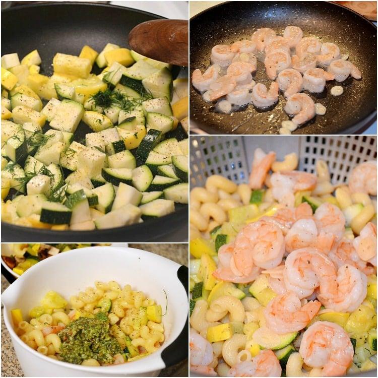 Shrimp-and-Veggie-Pesto-Pasta-Salad- Collage