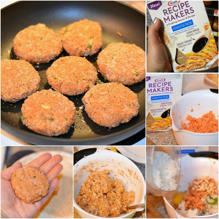 Asian Salmon Cakes Collage, Kraft Recipe Makers #kraftrecipemakers
