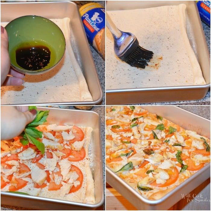 Caprese Chicken Pizza Collage (c) willcookforsmiles.com #pizza #caprese #chicken