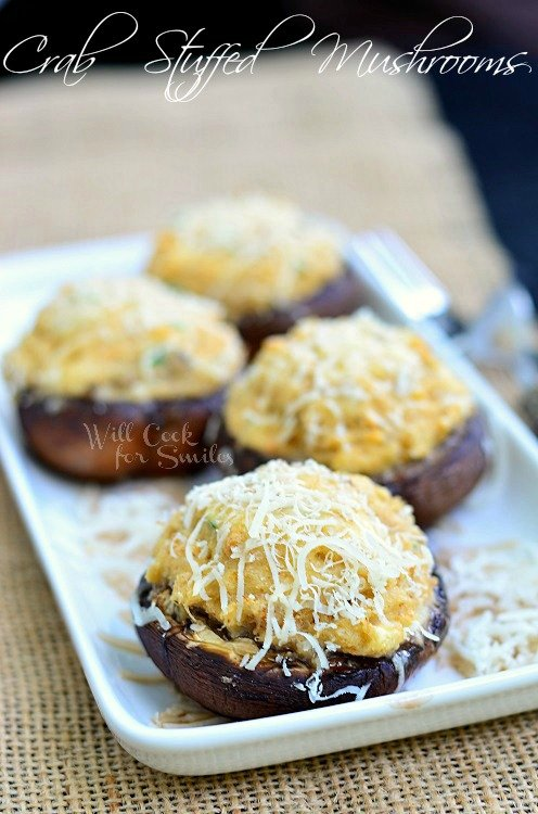 Crab Stuffed Mushrooms 1 (c) willcookforsmiles.com #crab #seafood #appetizer