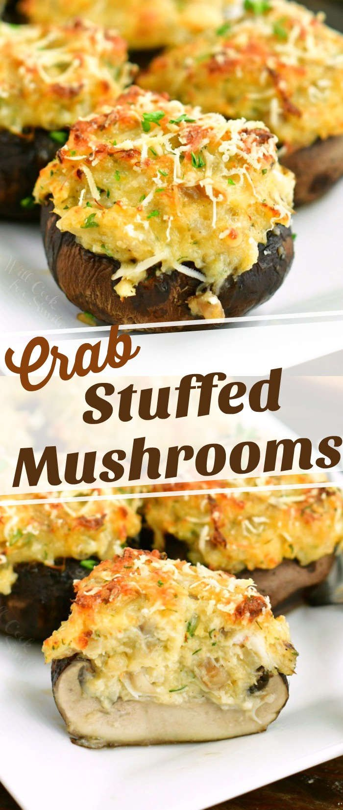 collage of two images of close up cooked stuffed mushroom on top and stuffed mushroom cut in half on the bottom