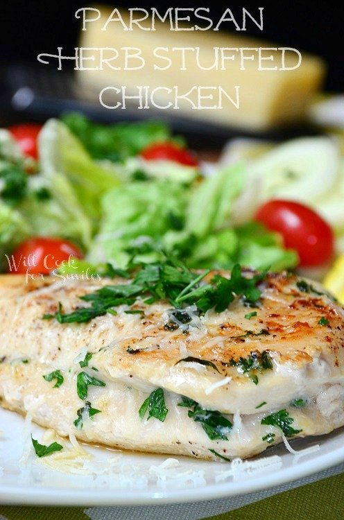Parmesan and Herb Stuffed Chicken on a white plate