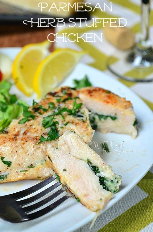 Parmesan and Herb Stuffed Chicken. This stuffed chicken is an easy and light dinner idea that's ready in 30 minutes. It's stuffed with fresh herbs, grated Parmesan cheese and simply cooked on the stove. #chicken #stuffedchicken #parmesan #easychicken #easydinner