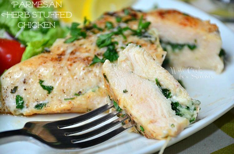 Parmesan and Herb Stuffed Chicken 3 (c) willcookforsmiles.com #chicken #parmesan #healthy