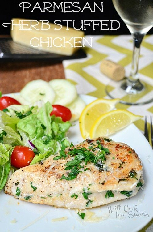 Parmesan and Herb Stuffed Chicken (c) willcookforsmiles.com #chicken #parmesan #healthy