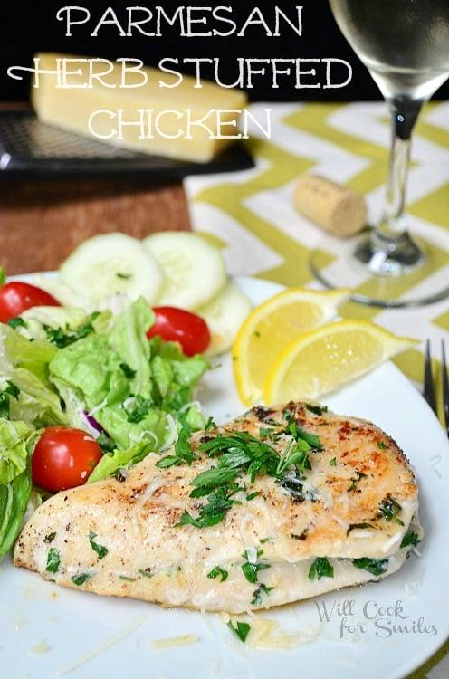 Parmesan and Herb Stuffed Chicken (c) willcookforsmiles.com #chicken #parmesan #healthy