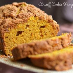 close up view of sliced biscoff cookie pumpkin bread on burlap placemat