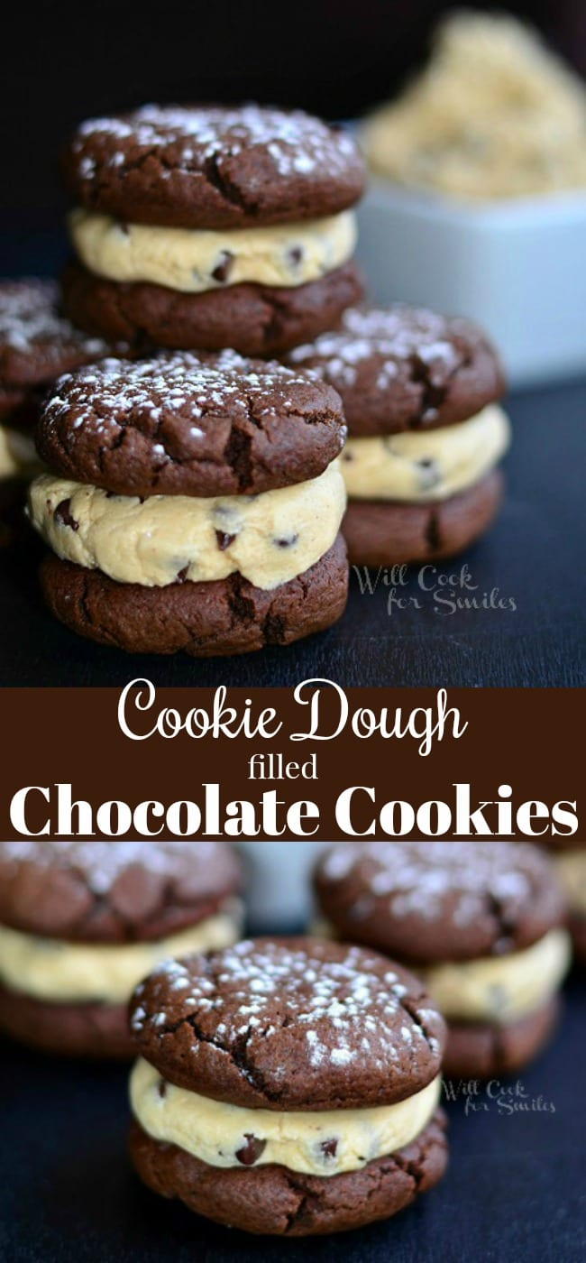 Cookie Dough Filled Chocolate Cookies. These rich, soft cookie sandwiches are filled with raw cookie dough. This recipe for cookies dough does not contain raw egg so it is safe to eat. #cookies #cookiesandwich #chocolatecookies #cookiedough