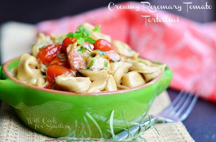 Creamy Rosemary Tomato Tortellini 2 (c) willcookforsmiles.com #tortellini #pasta