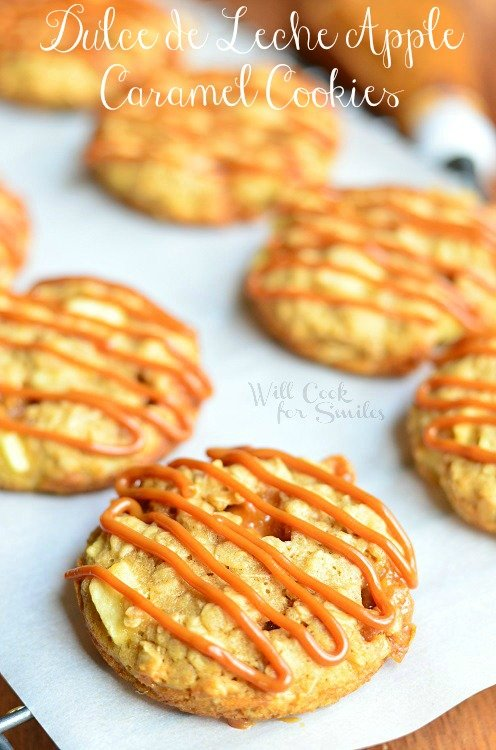 Dulce de Leche Apple Caramel Oatmeal Cookies 2 (c) willcookforsmiles.com #cookies #applecaramel