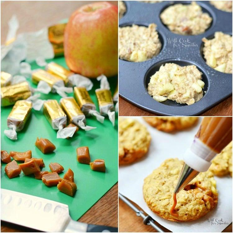 Dulce de Leche Apple Caramel Oatmeal Cookies Collage