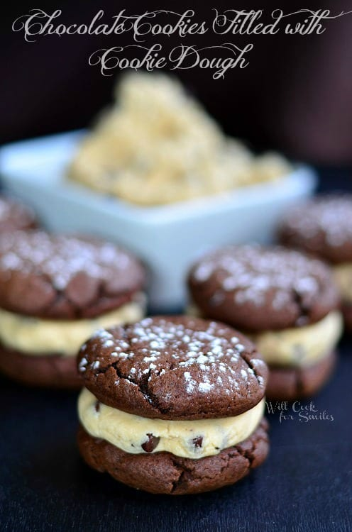 Chocolate Cookies. These rich, soft cookie sandwiches are filled with raw cookie dough. This recipe for cookies dough does not contain raw egg so it is safe to eat. #cookies #cookiesandwich #chocolatecookies #cookiedough