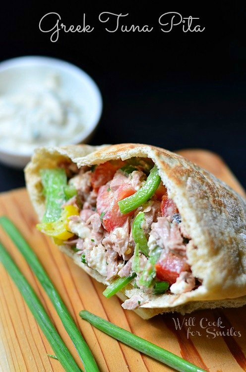 Greek Tuna Pita with Easy Herb Aioli 2 (c) willcookforsmiles.com #tuna #greek #sandwich