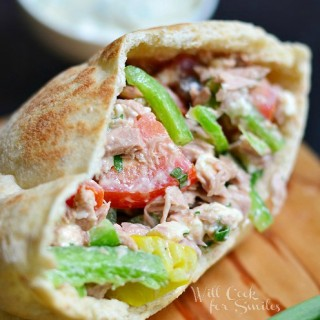Greek Tuna Pita with Easy Herb Aioli