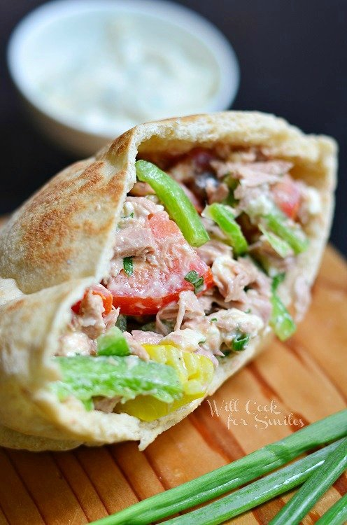 Greek Tuna Pita with Easy Herb Aioli 3 (c) willcookforsmiles.com #tuna #greek #sandwich