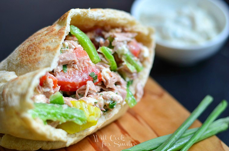 Greek Tuna Pita with Easy Herb Aioli 4 (c) willcookforsmiles.com #tuna #greek #sandwich