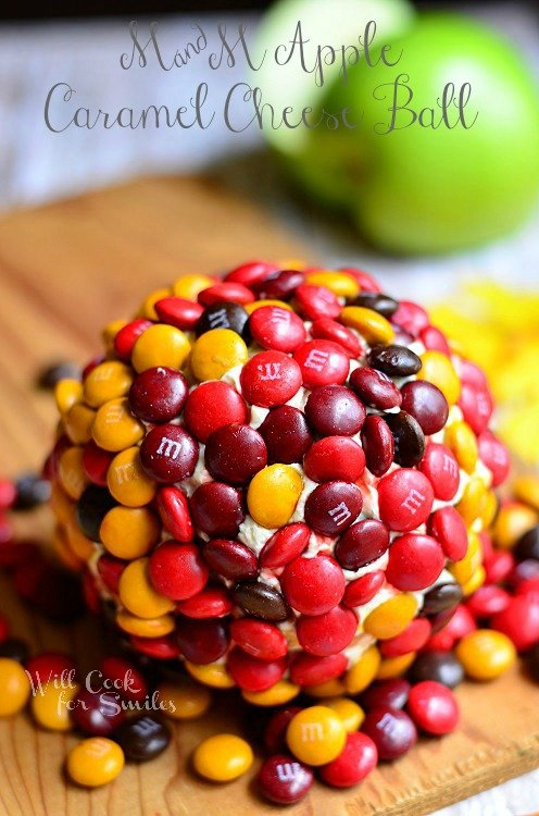 M&M caramel Apple Dessert Cheese Ball