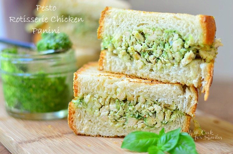 Pesto Rotisserie Chicken Panini 1 (c) willcookforsmiles.com #chicken #pesto #panini