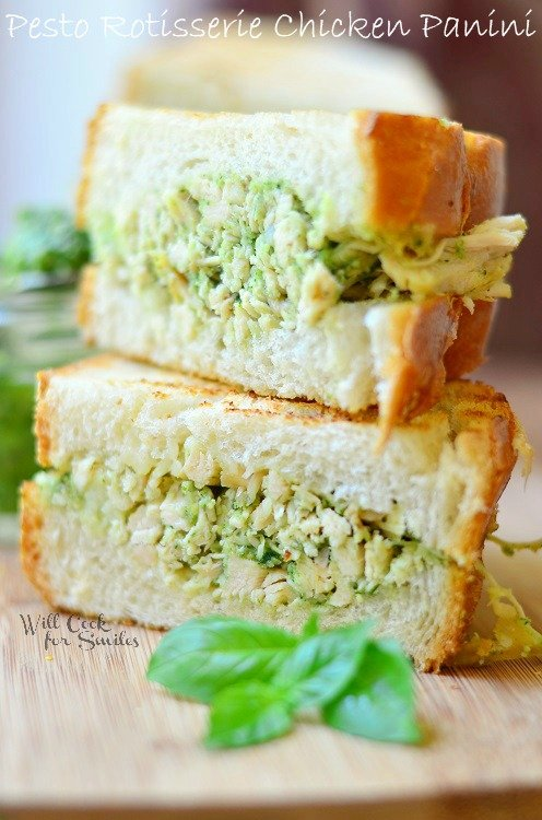 Pesto Rotisserie Chicken Panini slices in half and stacked on top of each other
