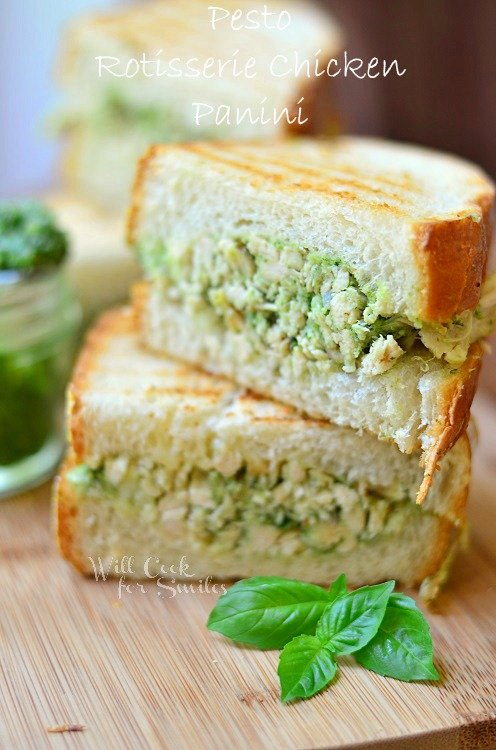 Pesto Rotisserie Chicken Panini (c) willcookforsmiles.com #chicken #pesto #panini