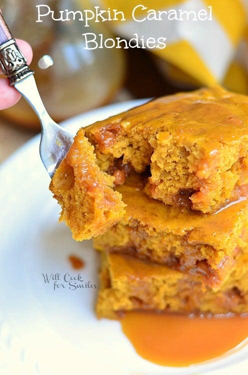 Pumpkin Caramel Blondies 3 (c) willcookforsmiles.com #pumpkin #caramel #dessert