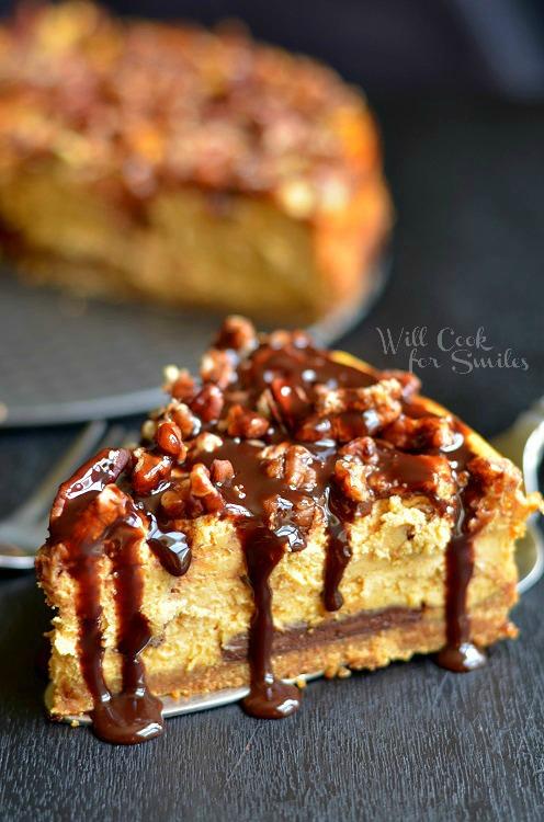 Pumpkin Chocolate Cheesecake 2 (c) willcookforsmiles.com #pumpkin #cheesecake #chocolate