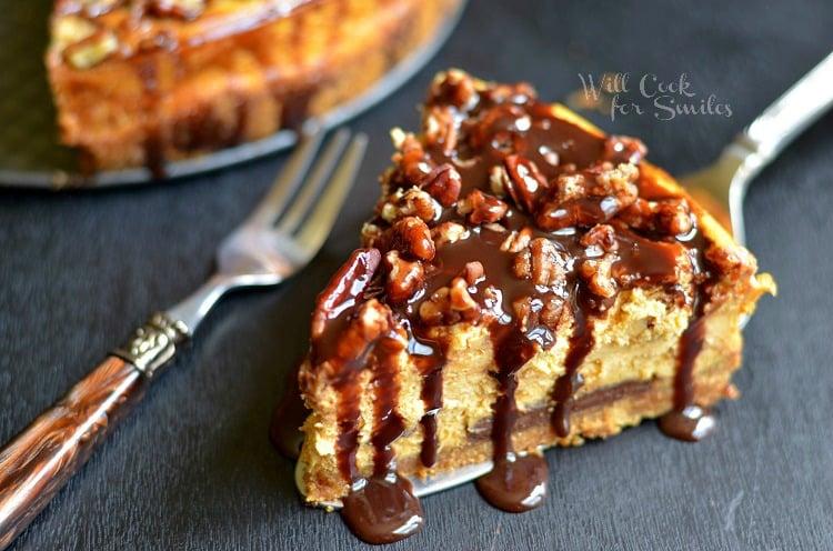 Pumpkin Chocolate Cheesecake 4 (c) willcookforsmiles.com #pumpkin #cheesecake #chocolate