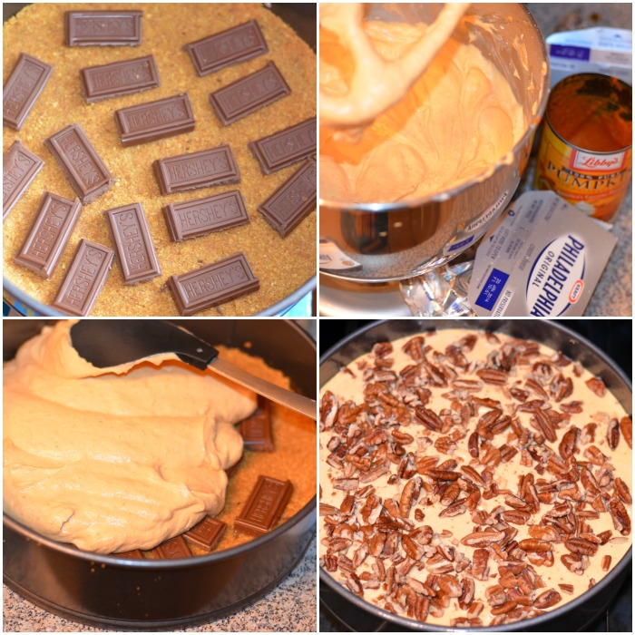 Pumpkin Chocolate Cheesecake. Steps for making pumpkin chocolate cheesecake. #pumpkin #cheesecake #chocolate #homemade #pumpkindesserts