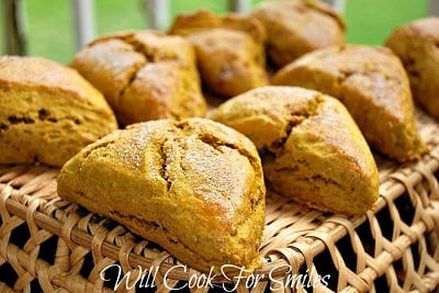 Pumpkin Scones on top of a basket