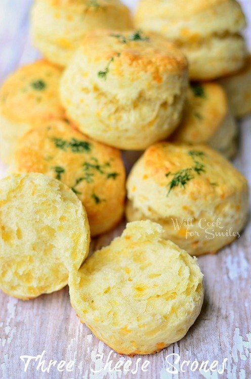 Three Cheese Scones (c) willcookforsmiles.com #scones #cheese