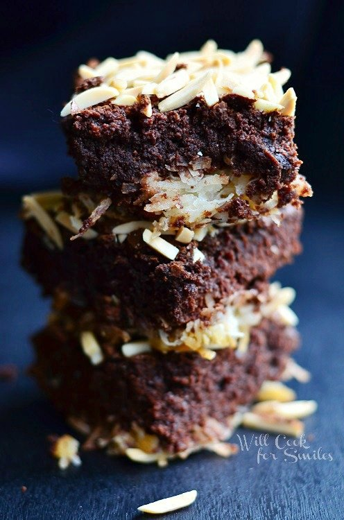 Almond Joy Brownies 1 from willcookforsmiles.com #brownies #coconut #almondjoy