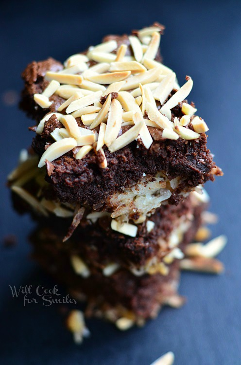 Almond Joy Brownies 2 from willcookforsmiles.com #brownies #coconut #almondjoy