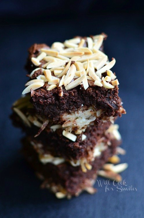 Almond Joy Brownies from willcookforsmiles.com #brownies #coconut #almondjoy