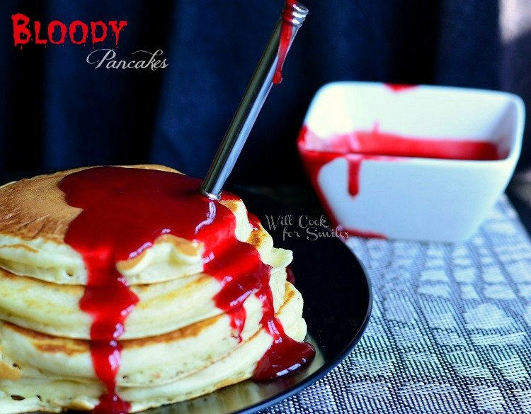 Bloody Pancakes, Halloween Breakfast 3 from willcookforsmiles.com #halloween #fakeblood #strawberry #syrup