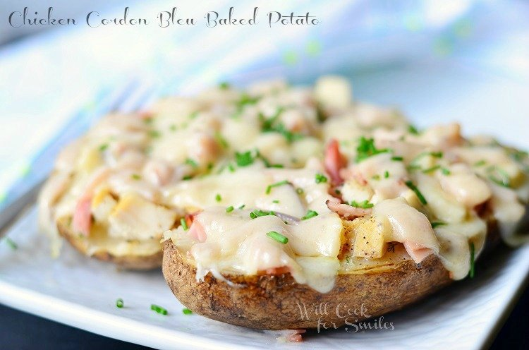 Chicken Cordon Bleu Baked Pototo 1 (c) willcookforsmiles.com #chicken #ham #cordonbleu #potato