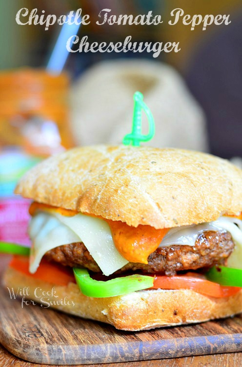 Chipotle Tomato Pepper Cheeseburger 2 (c) willcookforsmiles.com #cheeseburger #sandwich