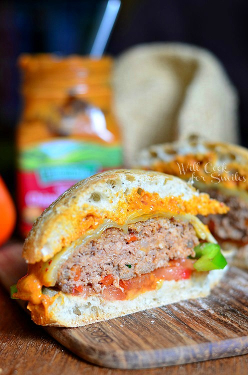 Chipotle Tomato Pepper Cheeseburger 3 (c) willcookforsmiles.com #cheeseburger #sandwich