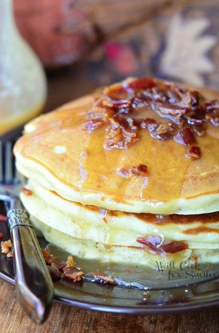 Maple Bacon Pancakes 2 from willcookforsmiles.com #pancakes #maple #bacon