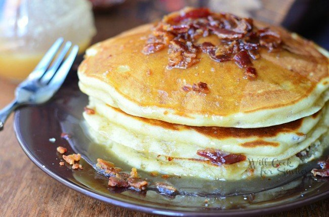 Maple Bacon Pancakes 3 from willcookforsmiles.com #pancakes #maple #bacon