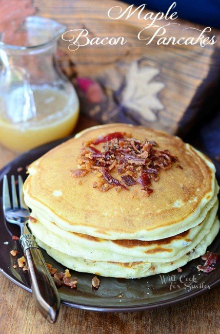 Maple Bacon Pancakes from willcookforsmiles.com #pancakes #maple #bacon