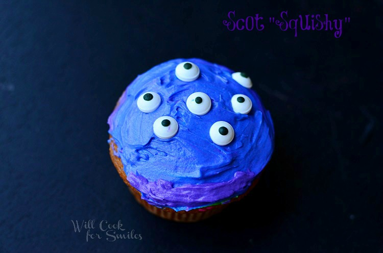 Monsters University Monster Cupcakes 5 from willcookforsmiles.com #monsters #cupcakes #party